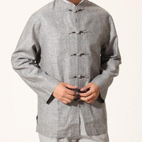 Male hand-embroidered cotton sacks Spring and Autumn casual long-sleeved costume Pankou