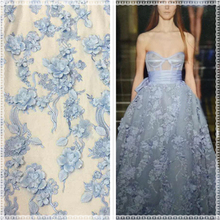 Ladies lace dress material beads decoration handwork 3d lace embroidery fabric with various colors can be customized