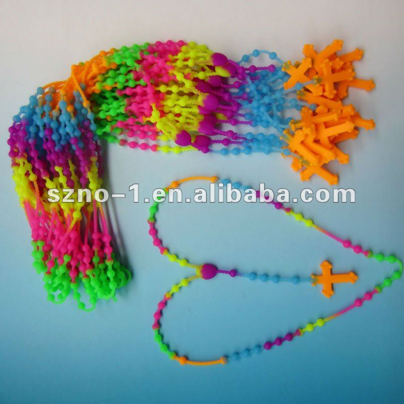 Fashion promotional Tie dye colors Rosary cross soft ball shape rainbow silicone necklace