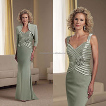 2014 Mermaid Chiffon Spaghetti Straps Beaded Pleated Bodice Mother of the Bride Dress With High Neck 3/4 Sleeve Jacket NB0897