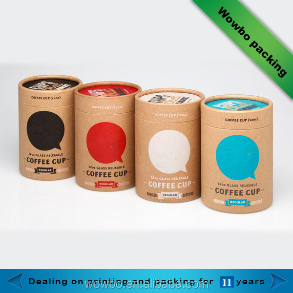 custom rigid kraft paper round tube for food/coffee/tea/gift packaging