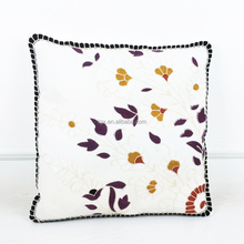 Wholesale Custom Home Textile Simple Leaves Design Cotton Embroidered Applique Work Cushion Cover