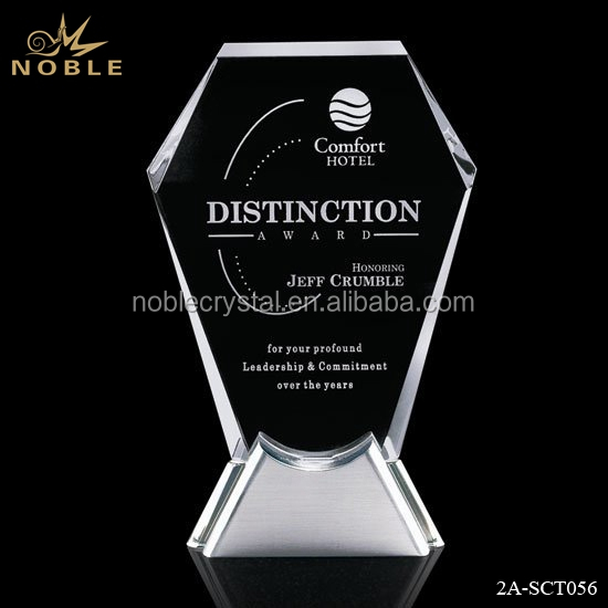 High quality new design shield award Crystal plaque with metal base