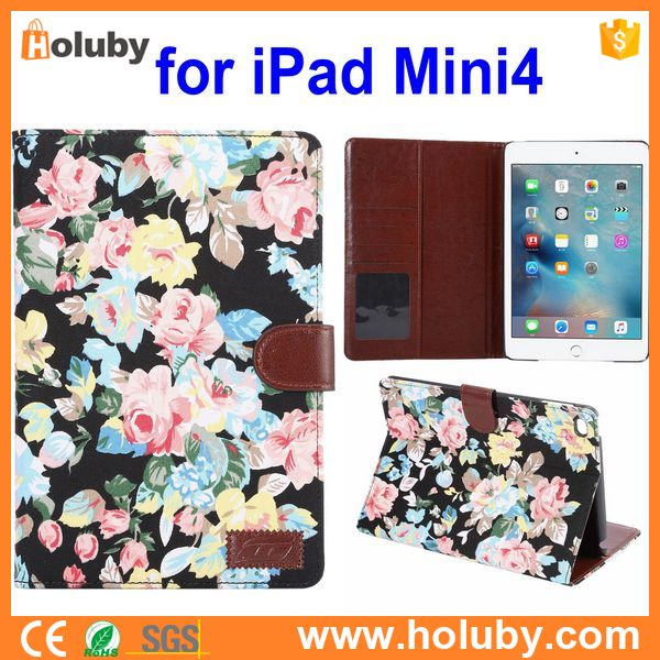Cloth Skin Wallet Leather Case Cover for iPad Mini 4, Flowers Pattern Cover Case for iPad Mini 4
