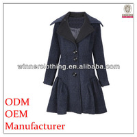 high quality big collar asian fashion winter coats with flared skirt