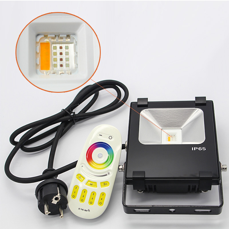 Multi color changing rgbw led floodlights led projector with 2.4g remote controller Fex and plug rgb led flood light 10watt