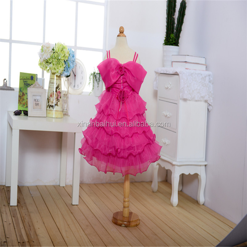Rose kid Birthday evening party dress girl sling dress with flower baby girl tutu dress for 1 years