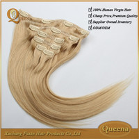 Wholesale Virgin Indian Hair Free Shipping Remy Clip In Hair Double Weft Hair Extension