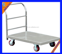 large laoding capacity flat bed handle carts with four wheels
