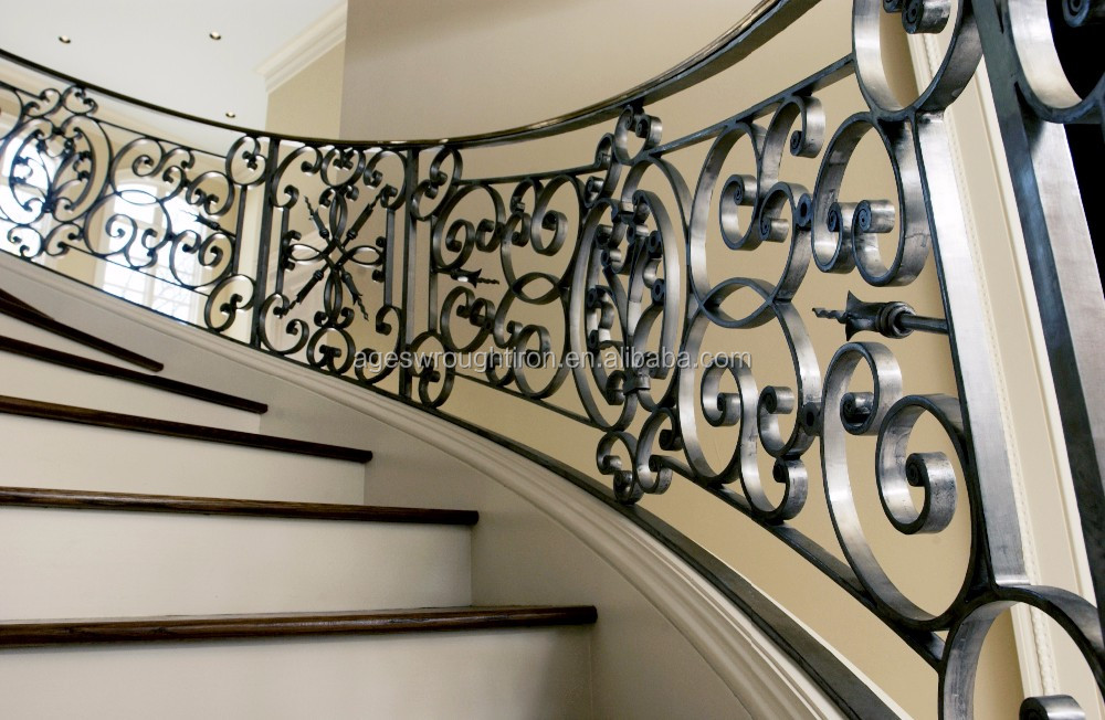Custom made iron hand-wrought meter/decorative wrought iron indoor stair railings