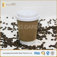 Kraft Double Wall Paper Carton 12oz Hot Coffee Cups with black lids