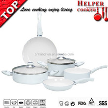 new product enamel cookware with bright white coating pan set