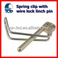 Spring clip with wire lock linch pin