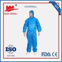 SMS/PP Non-woven waterproof disposable coverall type 5 6 ce