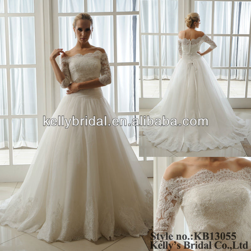 Outdoor Off Shoulder Sweetheart A-line Wedding Dress with detachable jaket