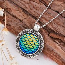 New Fashion Resin Round Ball Chain Antique Silver Green AB Color Mermaid Fish /Dragon Scale Cabochon Pendant Necklace
