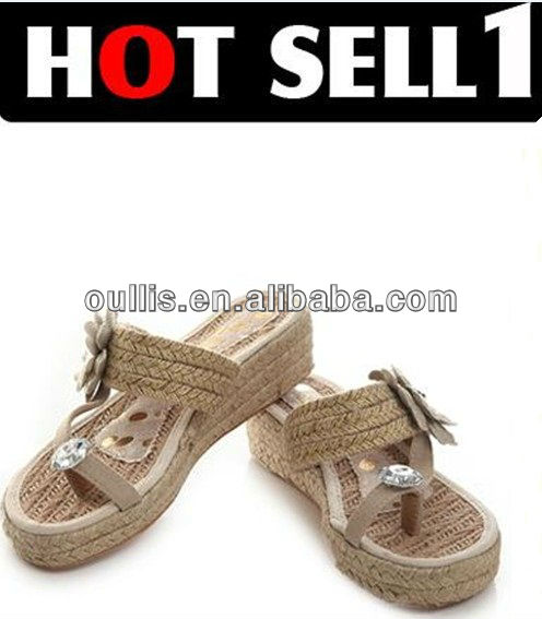 outdoor walking shoes handmake woven shoes with jewelry CP6196