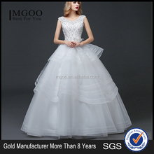 MGOO High Quality Customised Robe De Marriage Wedding Dress Sleeves Empire Waist Elegant Tulle Crystal Ball Gown