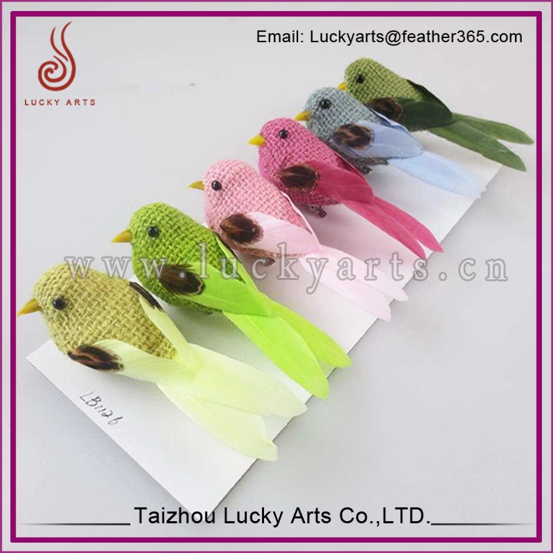 Taizhou Lucky Arts 2015 New Design Colourful Feather Birds for christmas Decoration