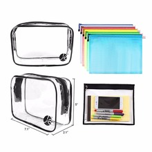 Clear plastic shopping zipper pvc cosmetic bag