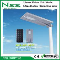 Cheap price hot selling quality approved strong lumens 120lm/w led solar street light all in one for hillside