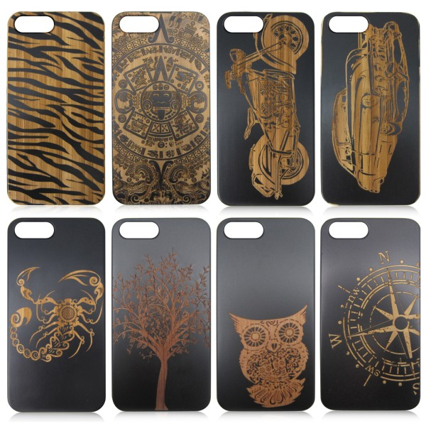 Black bamboo wood phone case, for iphone 6 carved logo black mobile phone back cover