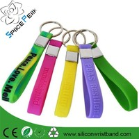 Promotional soft rubber key tags/ silicone bracelet keychain/CHEAP print silicone wristband key ring/ bulk rubber keyring