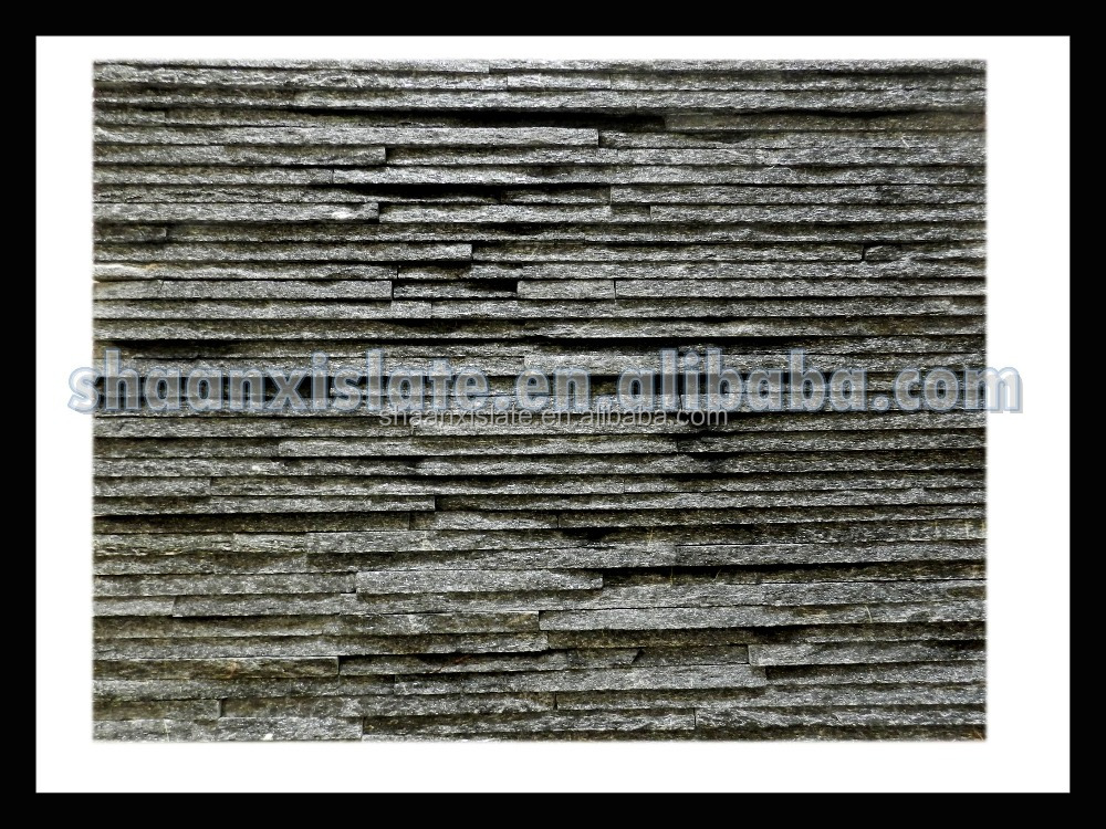 2016 best quality natural black quartz cultural slate for wall decorative