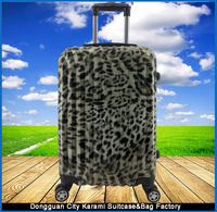 new style leopard-print ABS+PC film print trolley luggage