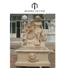 Natural marble detail carving water fountain with lady statue