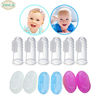 Disposable silicone baby finger toothbrush with the PP case