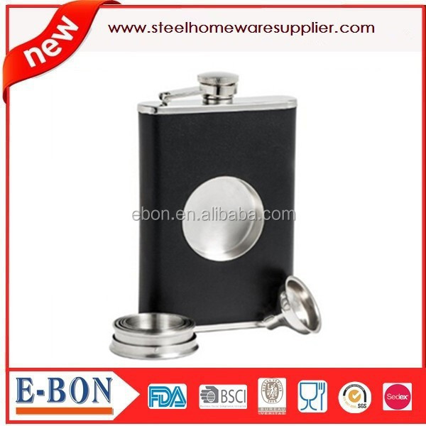 Hot sale 8oz hip flask wih funnel and mini cup qualified for FDA