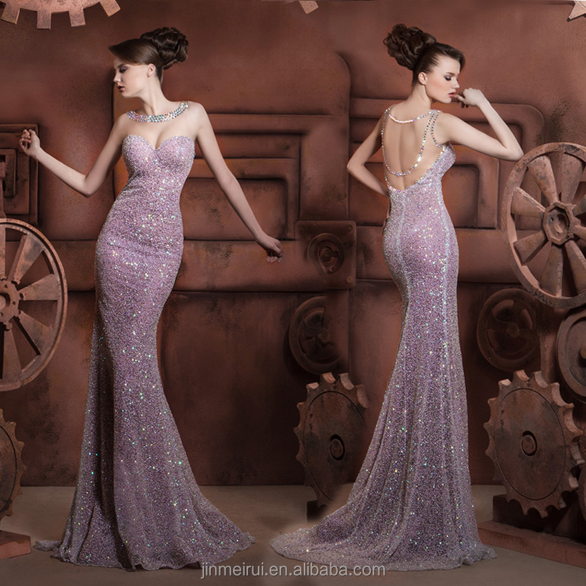 High Quality Stuning Purple Sequin Mermaid Evening Dress Long Winter Evening Dresses 2017 Sweep Train Formal Dress