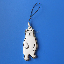 cute logo bear rubber cell phone strap for promotion gifts
