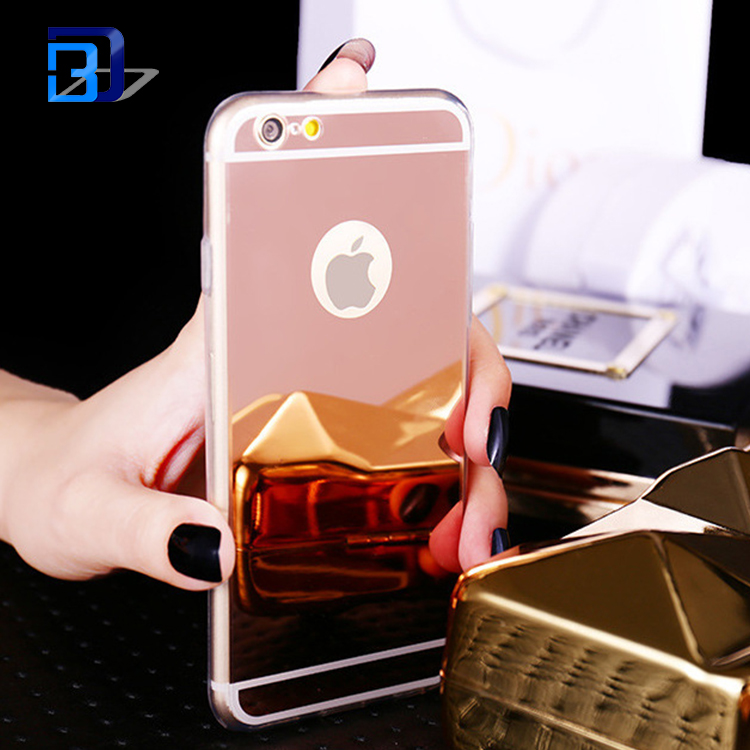 Luxury Crystal Soft Rubber Bumper Glitter Mirror Makeup TPU Cell Phone Case For iPhone 7 Case