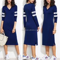 Fashion Women Dress Design 2017 New Arrival Blue V Neck Long Sleeve Knee Length Midi Slim Fit Baseball Casual Dress