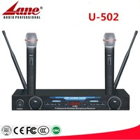 Lane dual UHF wireless microphone system self recharge U-502