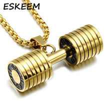 Barbell Pendant Stainless Steel Gym Dumbbell Pendant Sports Jewelry Fitness Mens Necklace