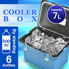 Cooler box 7L Japan made ice warm and cool box portable fishing outdoor plastic food wine insulated lunch box AQUA BLUE 100