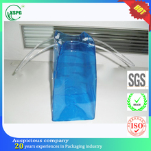 Colored clear plastic wine bottle bags with handles