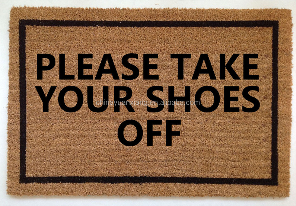 Coir Fiber Printed Please Take Your Shoes Off Doormat