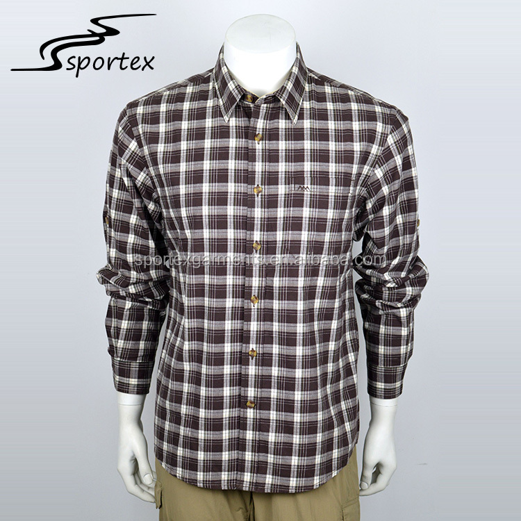 Custom logo size colorful long sleeve checked cotton plain casual shirts for men
