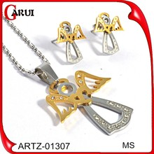 cheap gold cross pendant sset stainless steel angle necklace and earrings set