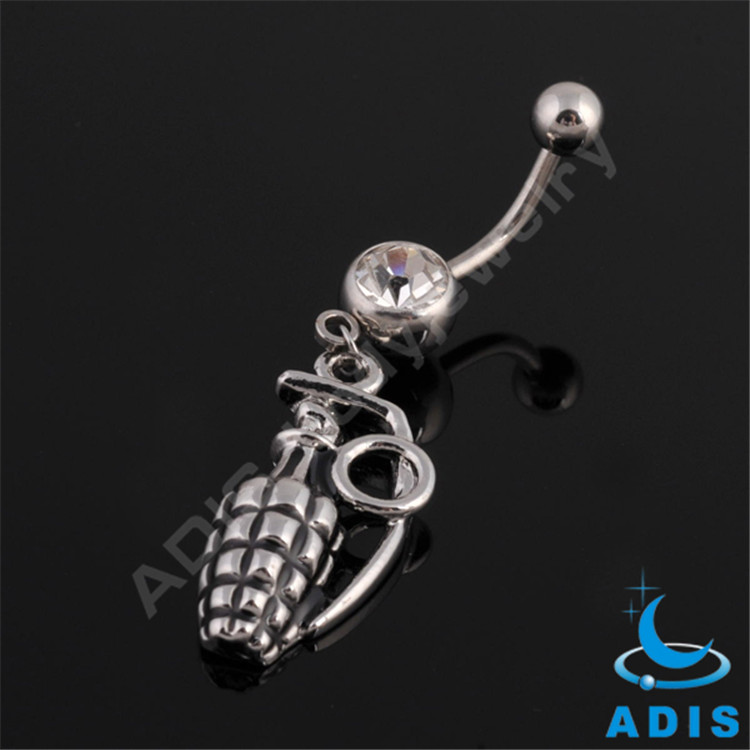 14 gauge Stainless steel navel ring with bomb Hanging pendants belly ring