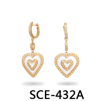 New arrival 925 sterling silver wedding ceramic jewerly 18k gold color big chandelier earrings for women