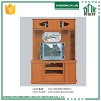 Reddish Brown or Maple color light tv stand wall unit designs