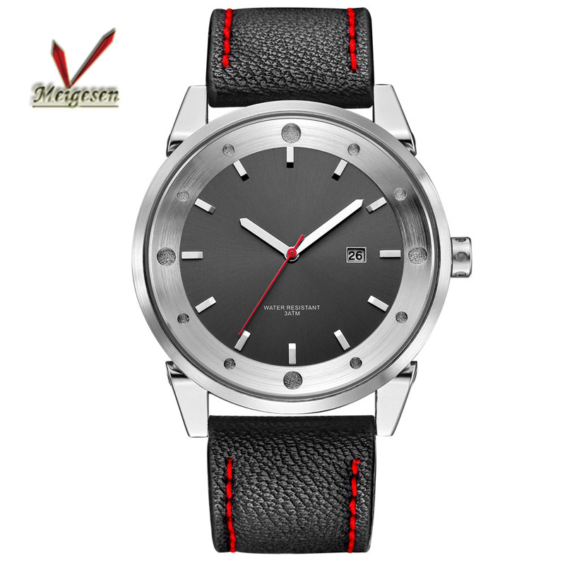 Men watch with Japan movt genuine leather band quartz men watch black watch face