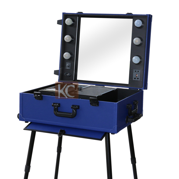Hot products mobile Professional Aluminum Beautiful Makeup case with light , legs ,mirror/Portable makeup station