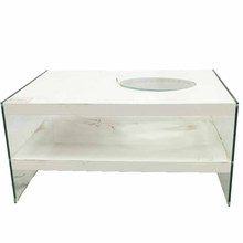 MDF with high gloss painting LED and glass office tea table