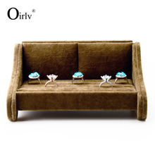 Oirlv Customize Logo Velvet Kiosk Jewellery Display Stand Ring Organiser Sofa Shape Decorative Jewelry Holder